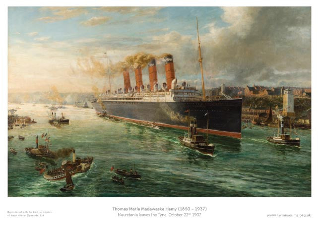 Mauretania Leaves The Tyne 1907 - Museum Poster