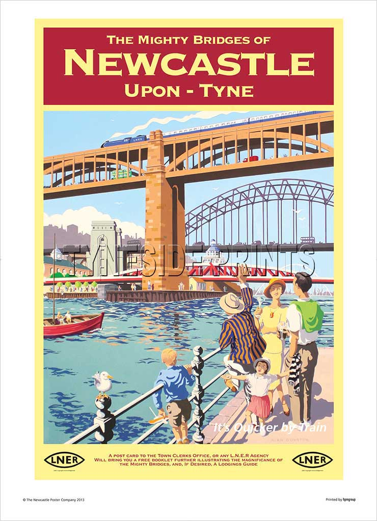The Mighty Bridges Of Newcastle Upon Tyne Railway Travel Poster