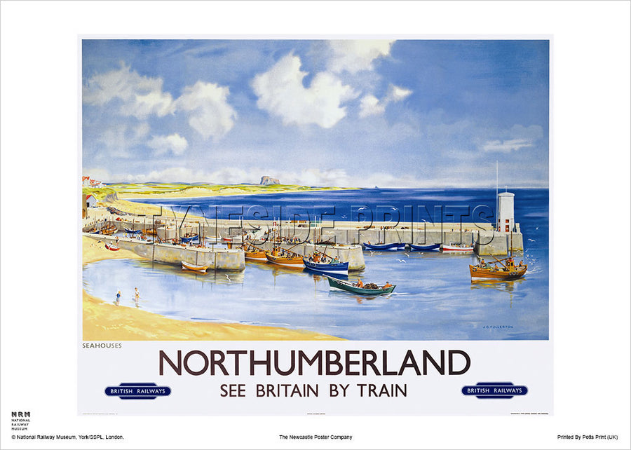 Seahouses Northumberland Railway Travel Poster