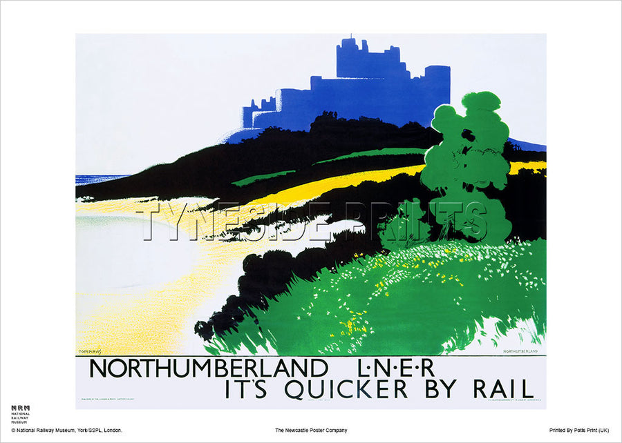 Bamburgh Castle Silhouette Northumberland Railway Travel Poster