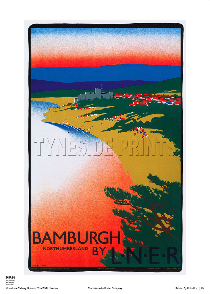 Bamburgh - Northumberland - Railway Travel Poster