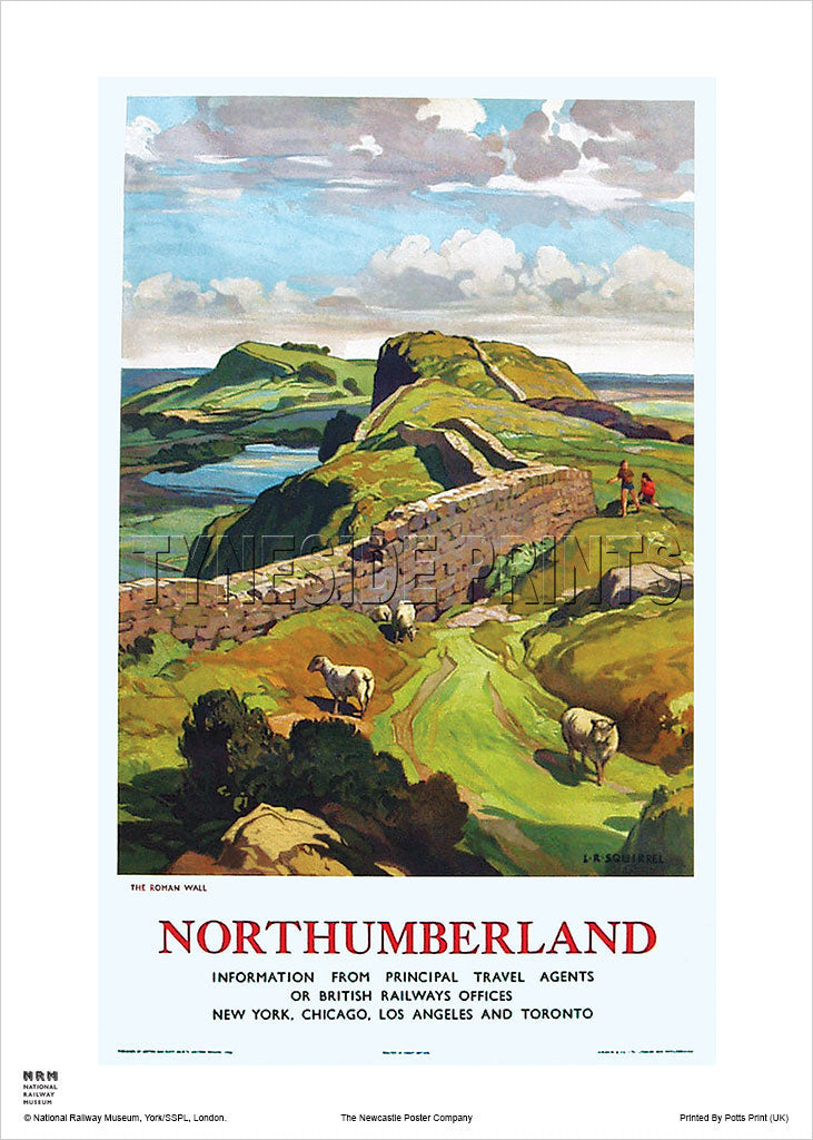 Hadrian's Wall The Roman Wall Northumberland Railway Travel Poster