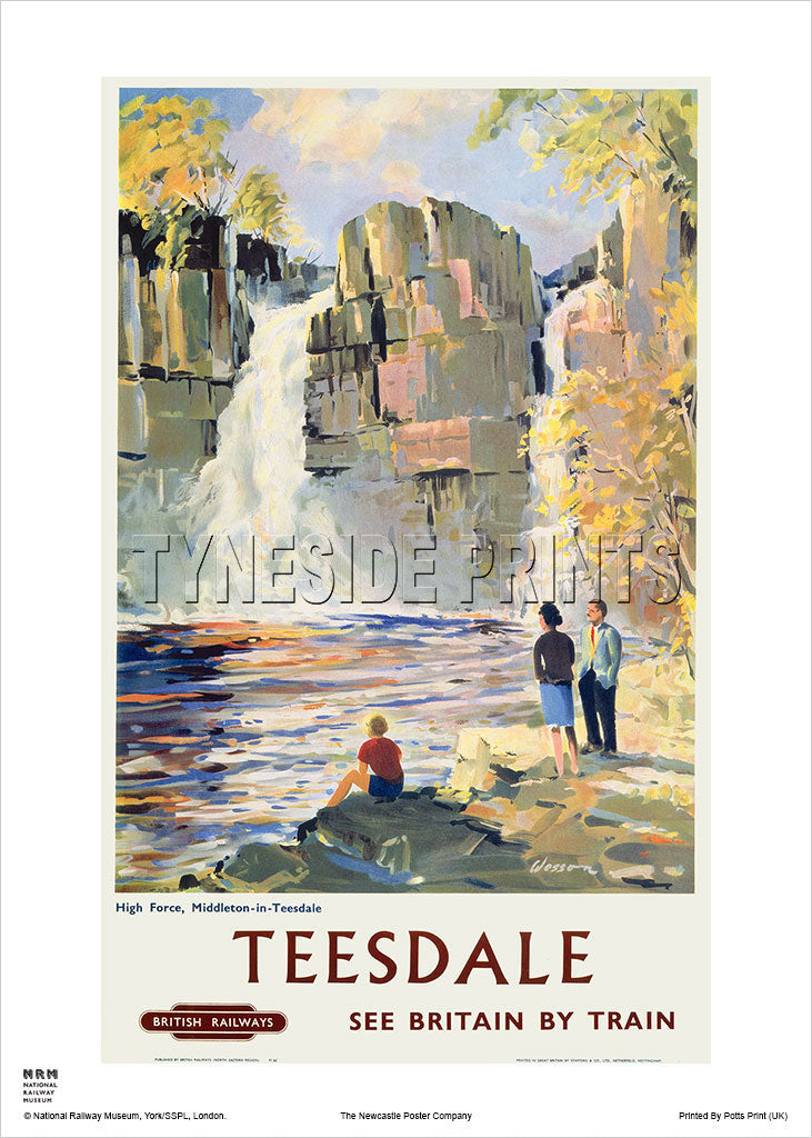 High Force - Middleton in Teesdale - Railway Travel Poster