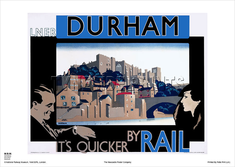 Durham Castle It's Quicker By Rail Railway Travel Poster