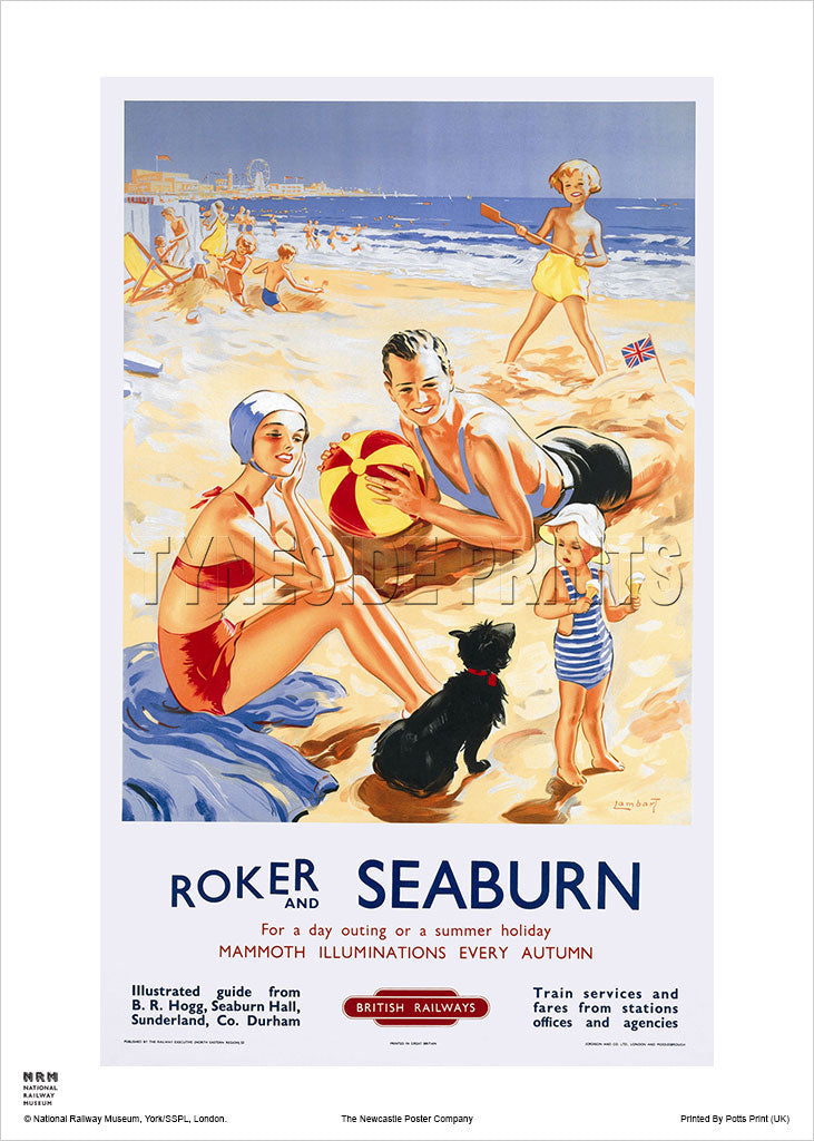Roker and Seaburn Railway Travel Poster