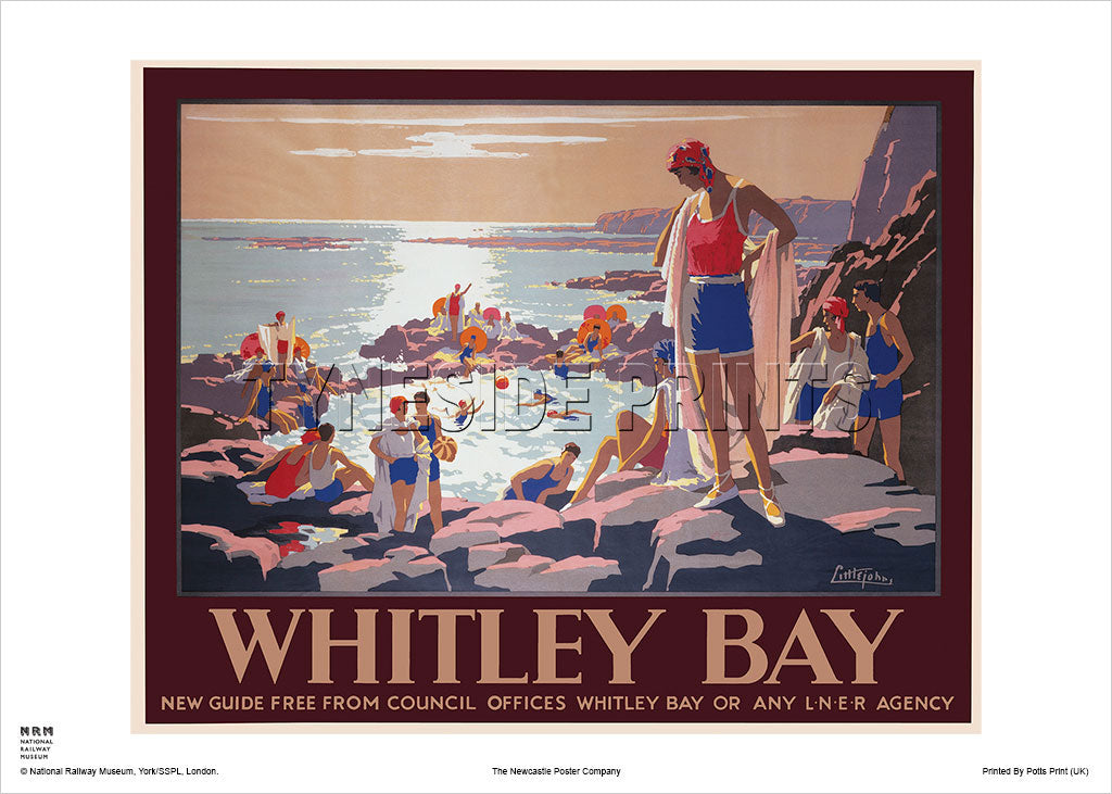 Whitley Bay Bathers - Railway Travel Poster