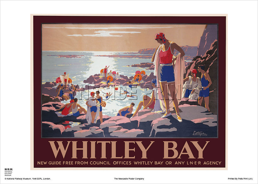 Whitley Bay Bathers Railway Travel Poster