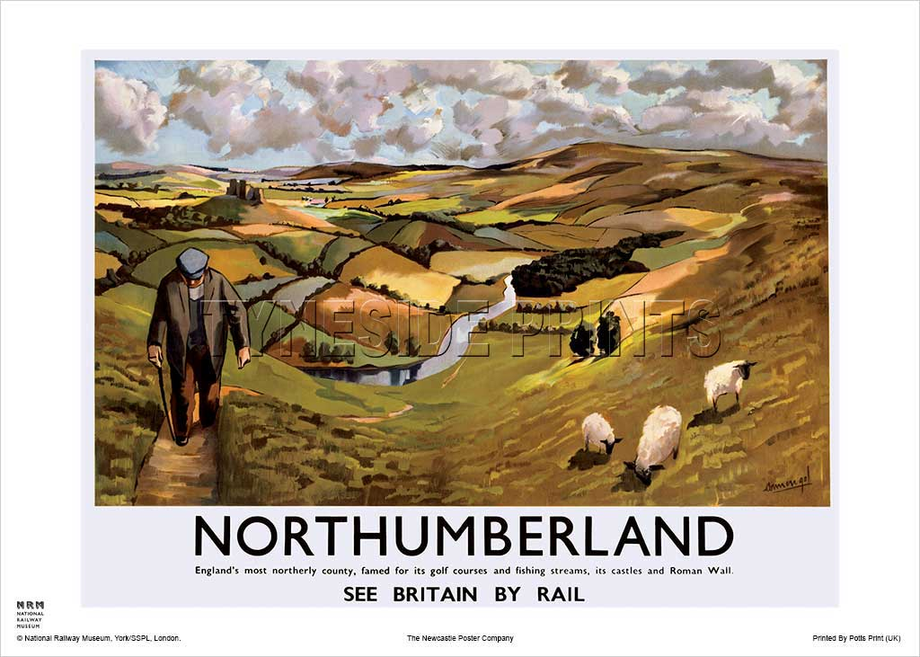 Northumberland Countryside - Railway Travel Poster