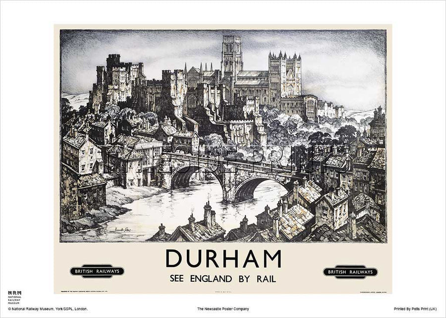 Durham Cathedral & Castle Railway Travel Poster