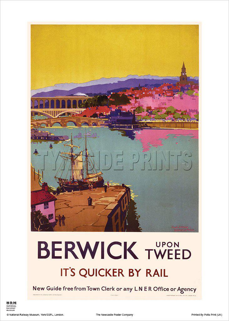 Berwick upon Tweed Railway Travel Poster