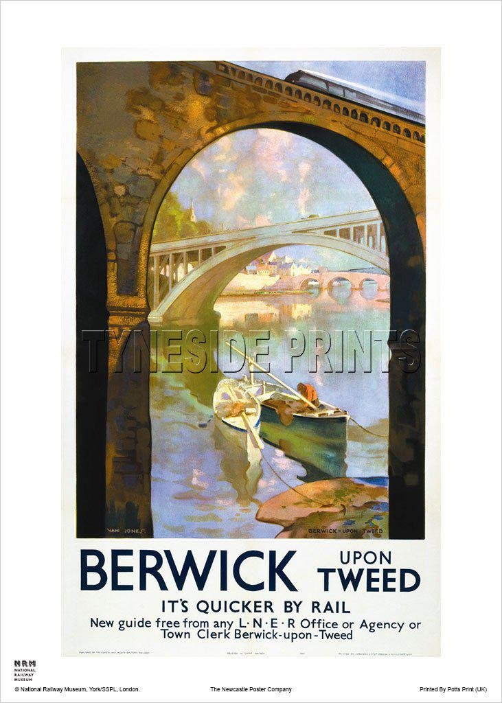 Berwick upon Tweed Royal Border Bridge Railway Travel Poster