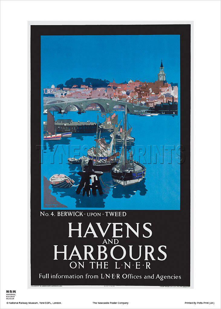 Havens and Harbours Berwick upon Tweed Railway Travel Poster