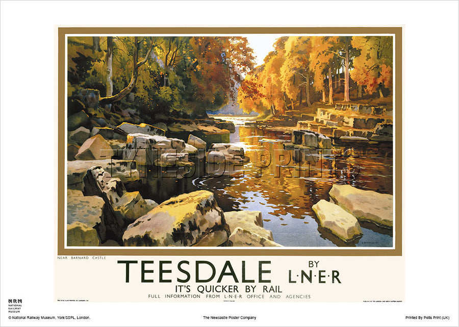 Teesdale Near Barnard Castle Railway Travel Poster