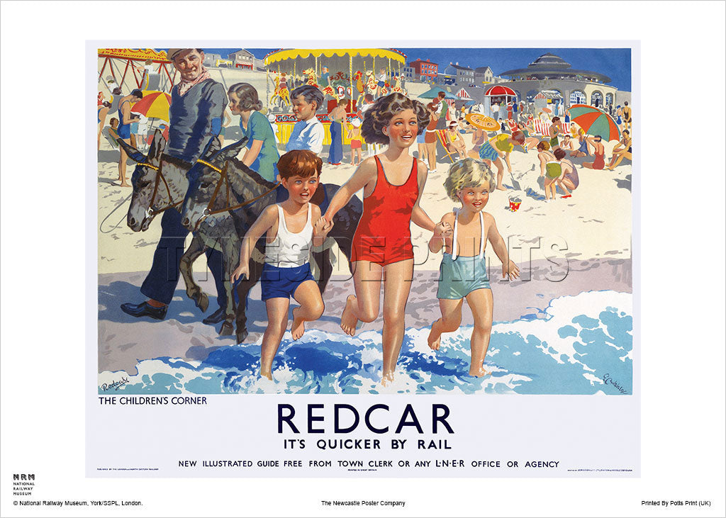 Redcar - The Children's Corner - Railway Travel Poster