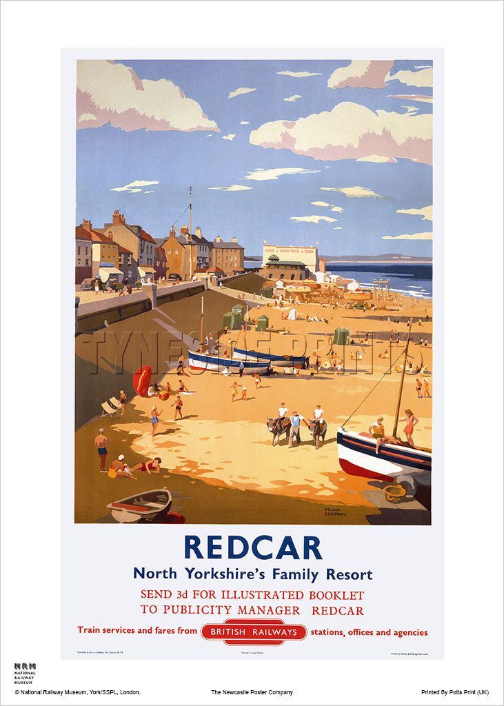 Redcar - North Yorkshire's Family Resort - Railway Travel Poster