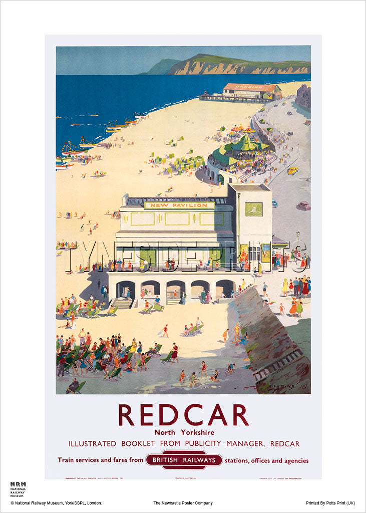 Redcar New Pavilion Railway Travel Poster