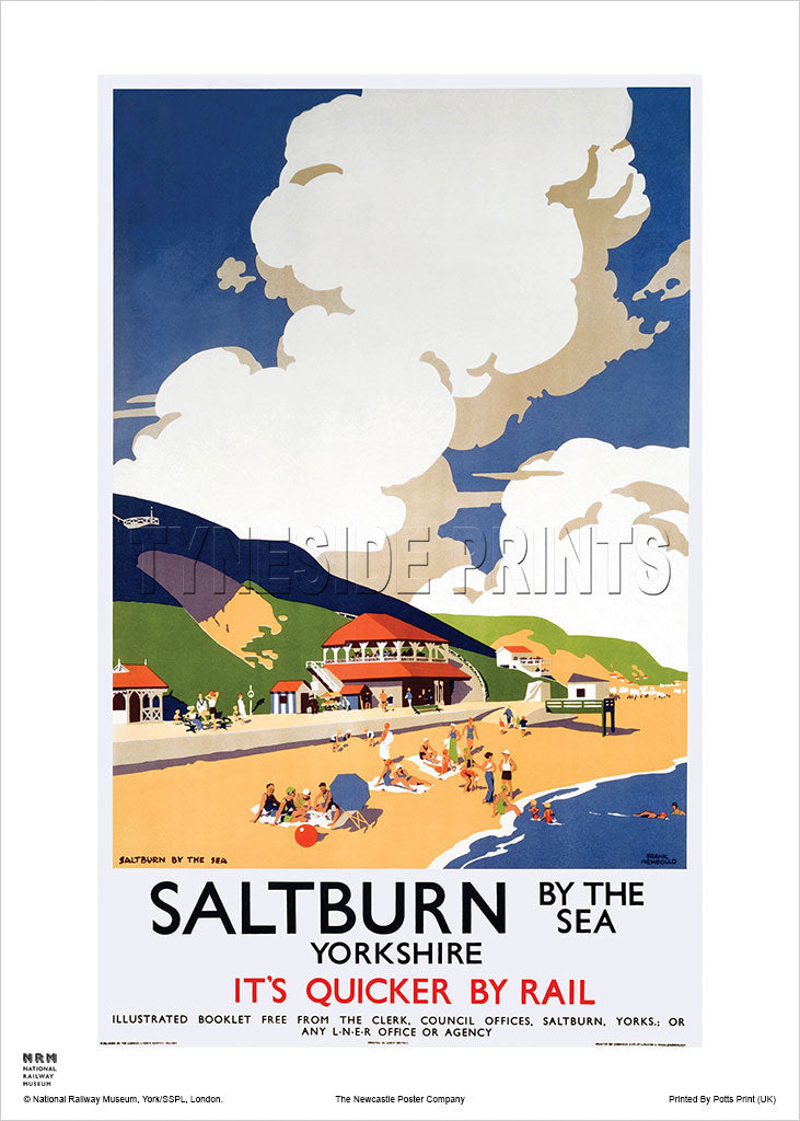 Saltburn by the Sea Yorkshire Railway Travel Poster
