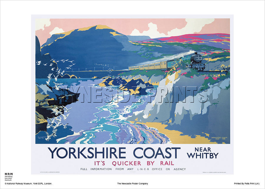 Yorkshire Coast Near Whitby Railway Travel Poster