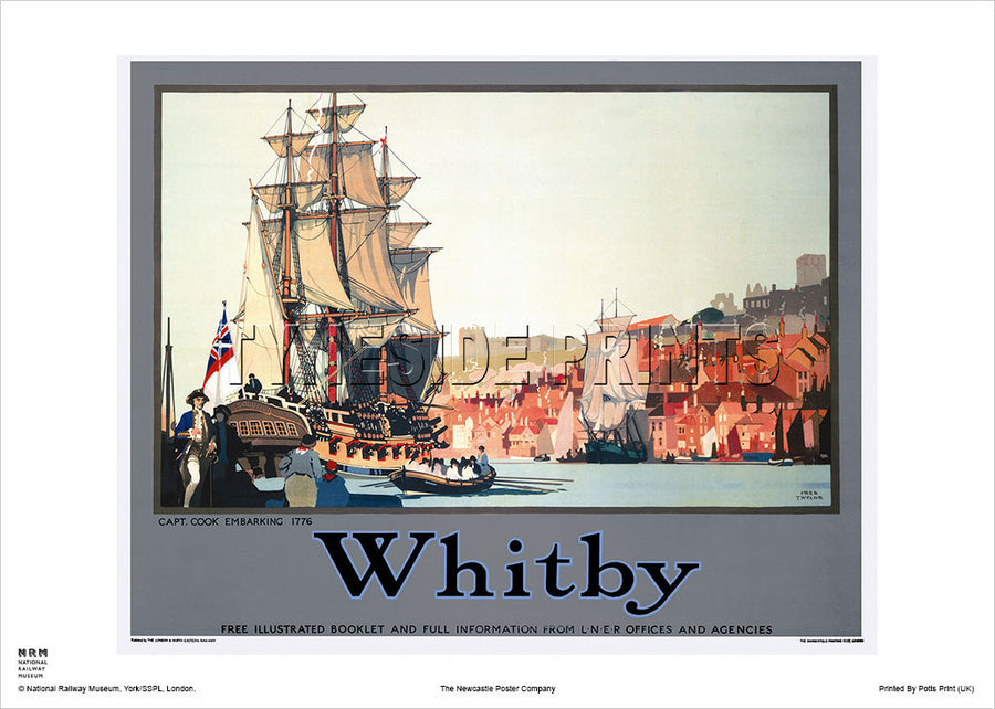 Whitby - Captain Cook Embarking 1776 - Railway Travel Poster
