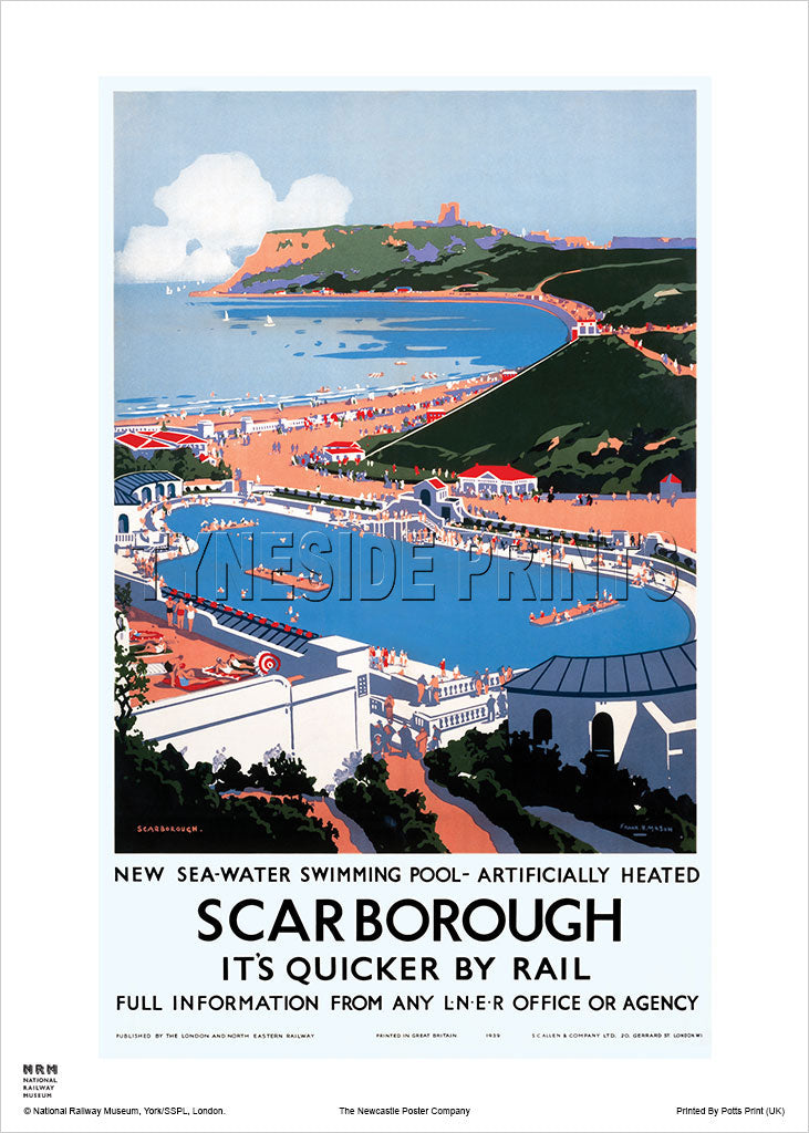 Scarborough - Swimming Pool - Railway Travel Poster