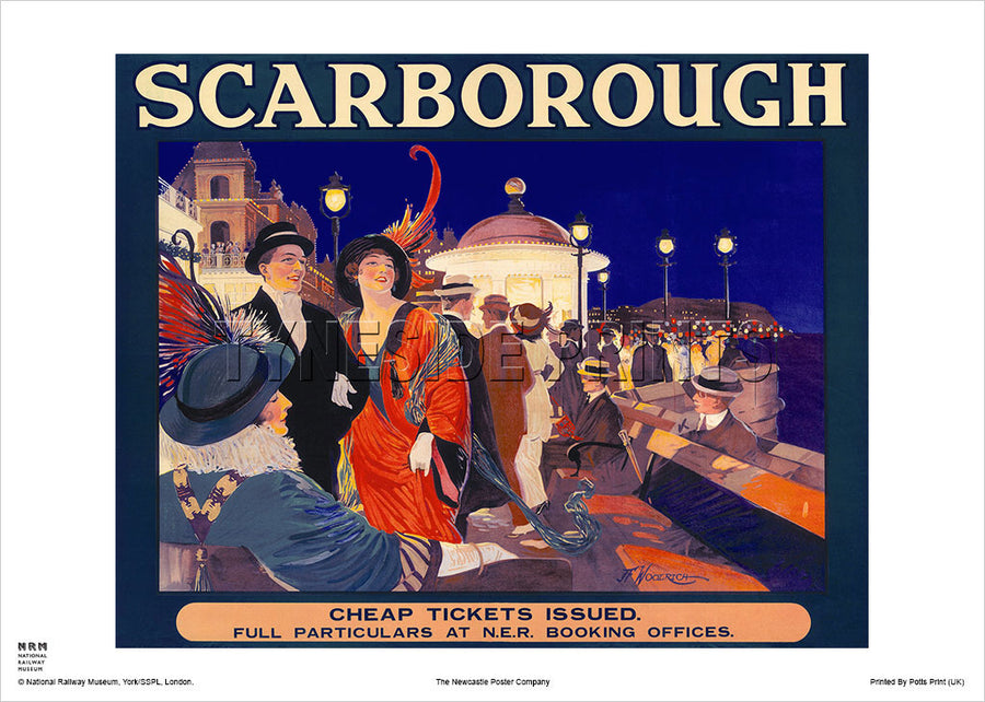Scarborough Promenade NER Railway Travel Poster