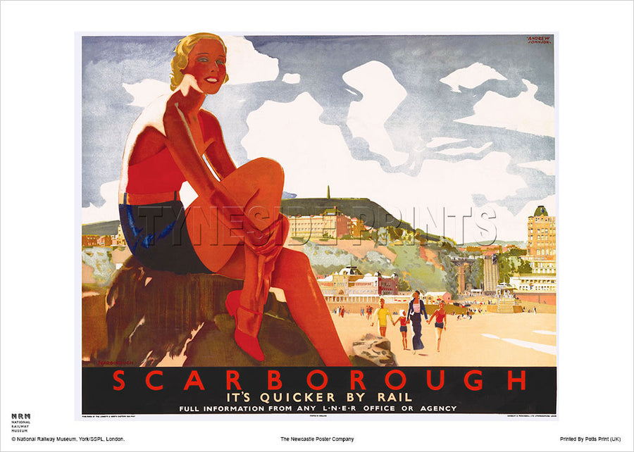 Scarborough Bather LNER Railway Travel Poster