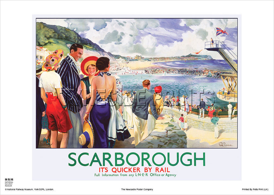 Scarborough It's Quicker By Rail Railway Travel Poster