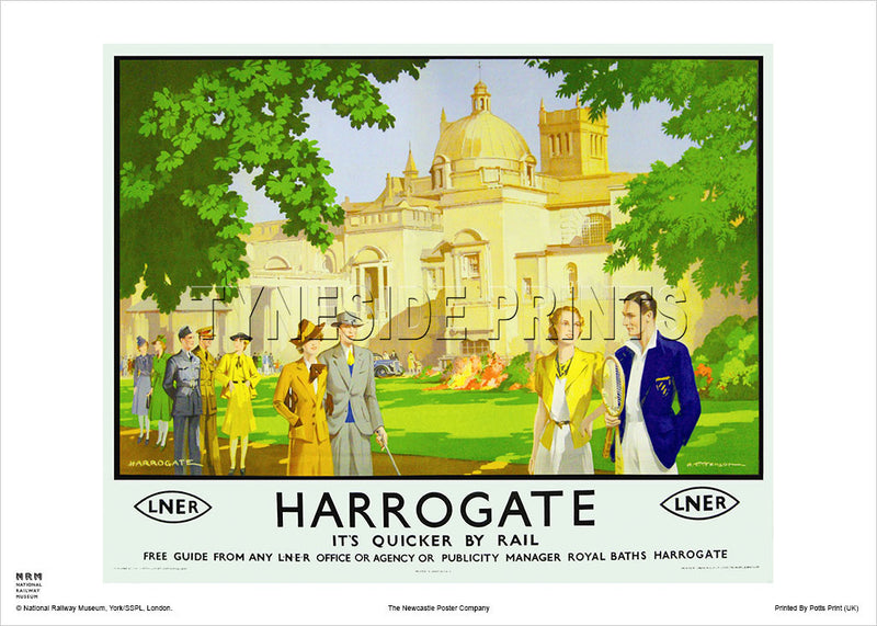 Harrogate It's Quicker By Rail Travel Poster