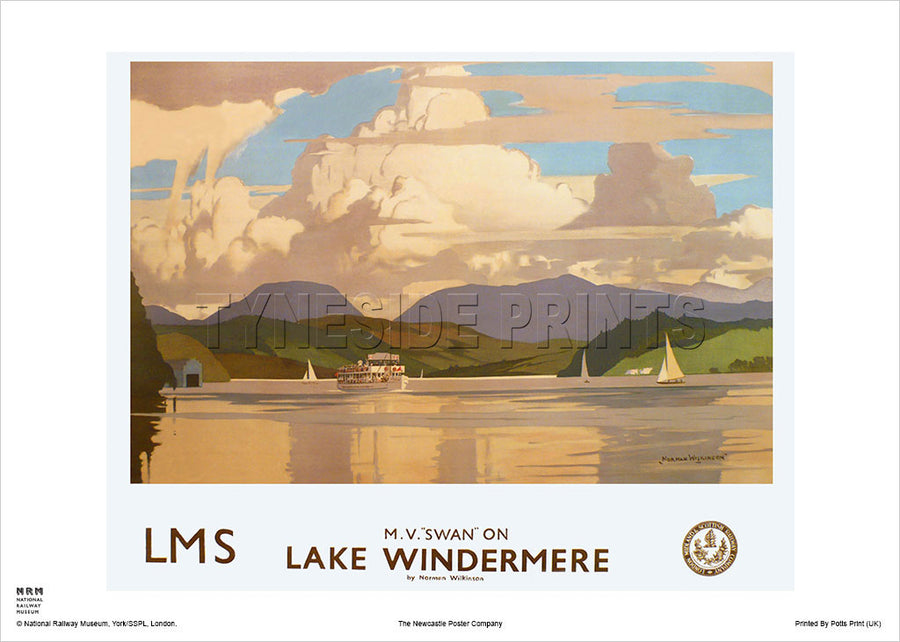 Lake Windermere Lake District Travel Poster