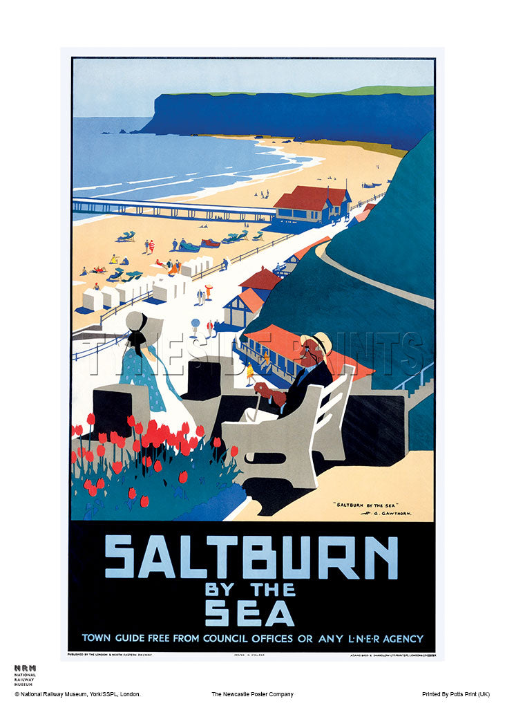 Saltburn by the Sea Town Guide Railway Travel Poster