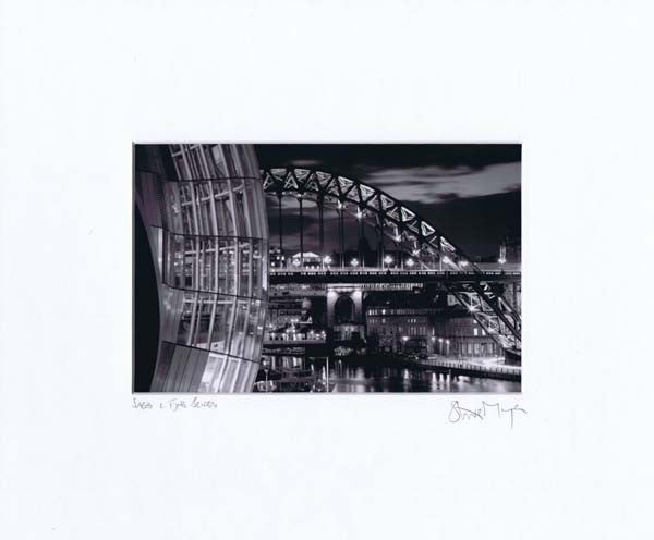 Sage & Tyne Bridge | Black & White Photographic Mounted Print | Tyneside Prints