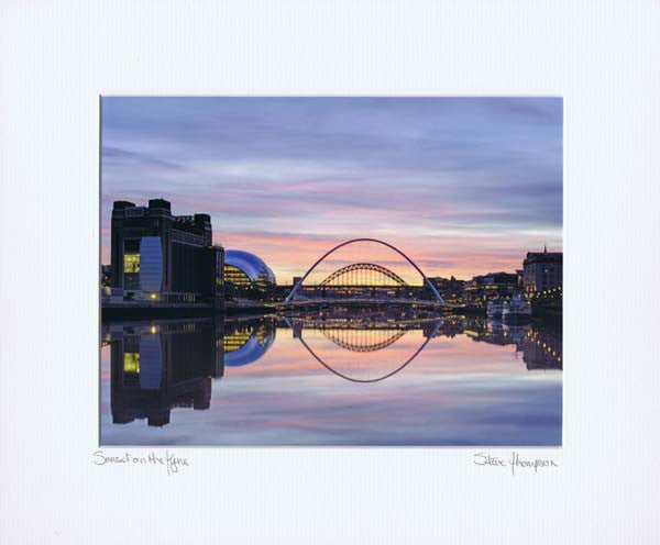 Sunset On The Tyne | Colour Photographic Mounted Print | Tyneside Prints