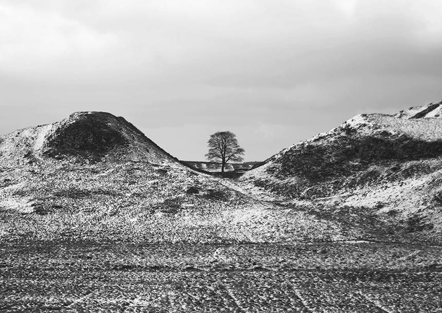 Sycamore gap in winter hadrians wall photographic print