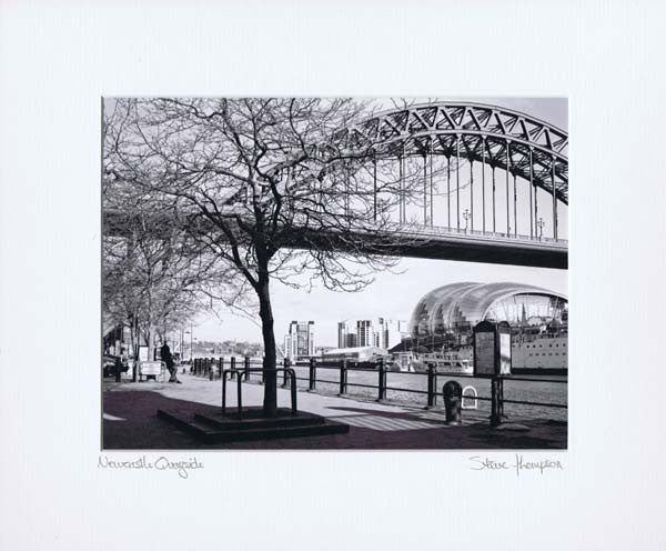Tyne Bridge & The Sage | Black & White Photographic Mounted Print