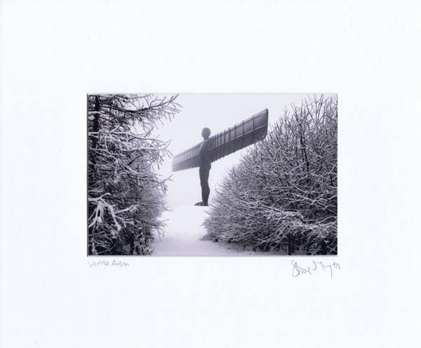 Winter Angel Of The North | Black & White Photographic Mounted Print | Tyneside Prints