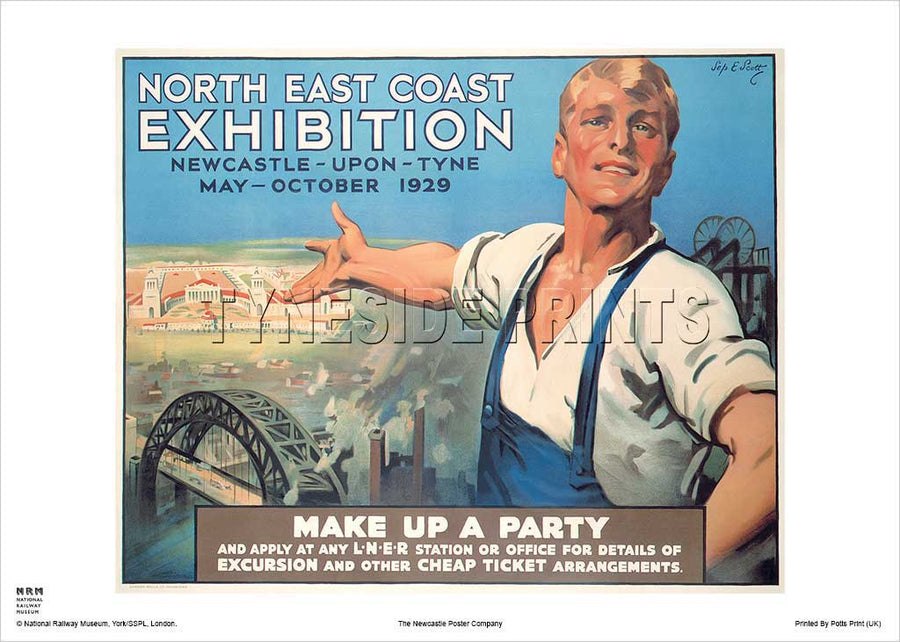 North East Coast Exhibition 1929 Railway Travel Poster