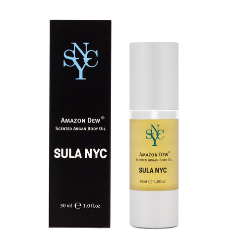 Scented argan body oil Amazon Dew by SULA NYC - organic skin care products