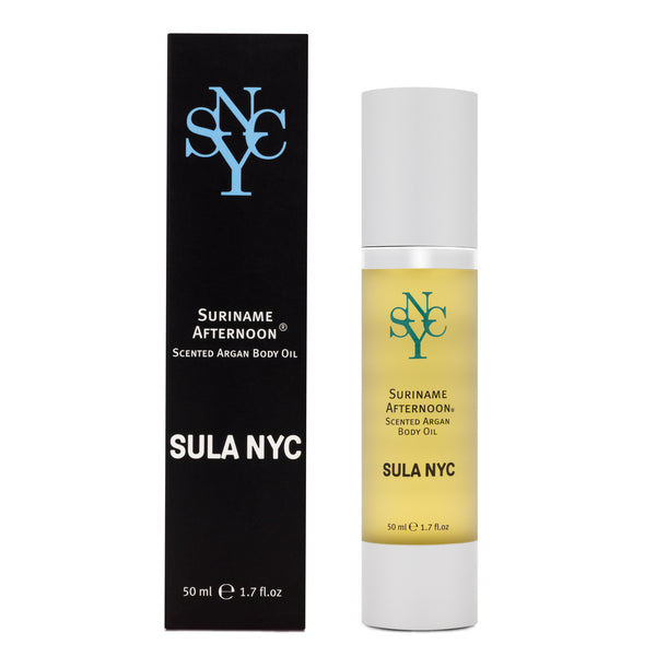 Scented argan body oil Suriname Afternoon by SULA NYC - organic skin care products