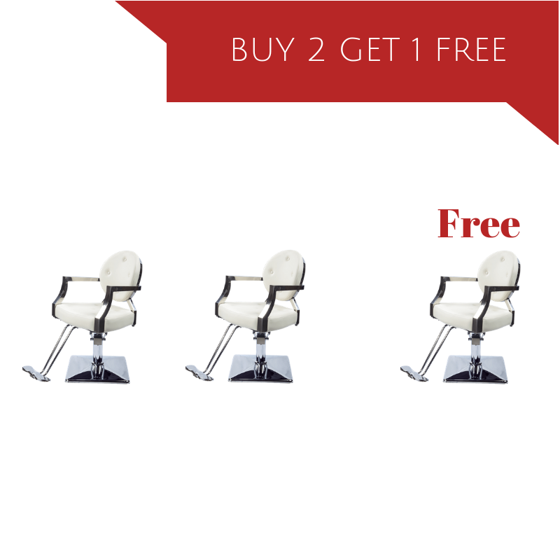 Salon Chair Package - Buy 2 get 1 Free - Ariel Ivory white