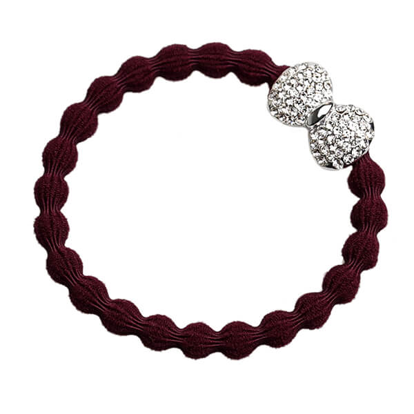 byEloise - Bangle Band Silver Diamanté Bow Plum