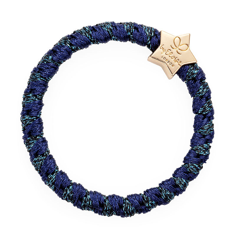 byEloise - Bangle Band Gold Heart Woven - Navy Shimmer