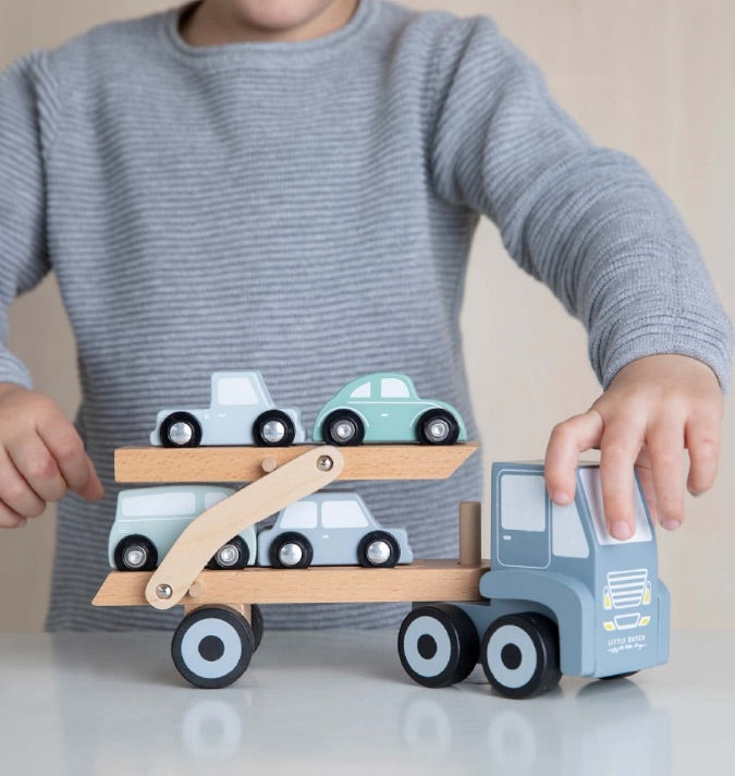 LITTLE DUTCH - Holzpielzeug Auto Transportwagen blau 25 cm