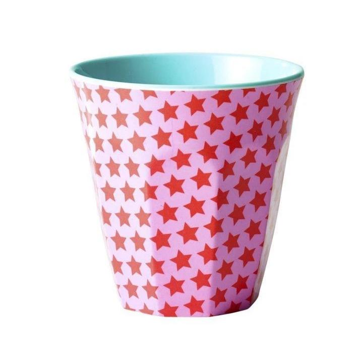 RICE - Becher Melamin Two Tone with Star Print Red Pink