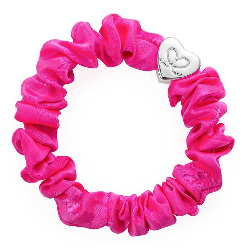 byEloise - Bangle Band Gold Heart Silk Scrunchie - Neon Pink