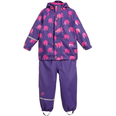 CeLaVi - 2-teiliges Set Regenjacke & Regenhose Elephant Purple