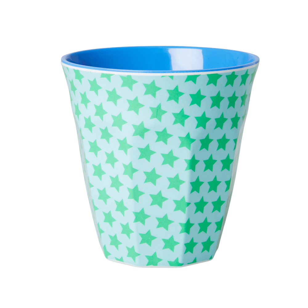 RICE - Becher Melamin Two Tone with Star Print Green Blue