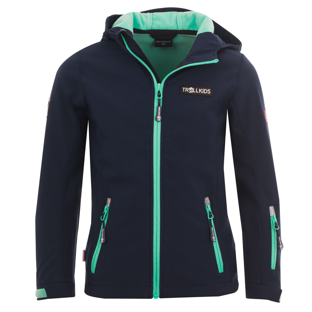 TROLLKIDS Girls Soft Shell Jacke Oslofjord navy-mint