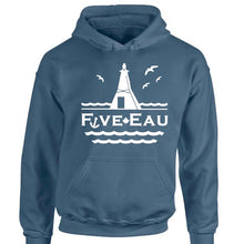 Load image into Gallery viewer, erie indigo hoodie sweatshirt showing seagulls in flight around the lighthouse and pier in Erieau on Lake Erie Ontario.  Lifestyle apparel brand for water lovers, wake surf, water ski, fishing and boating enthusiasts