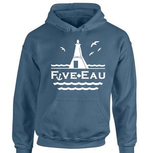 erie indigo hoodie sweatshirt showing seagulls in flight around the lighthouse and pier in Erieau on Lake Erie Ontario.  Lifestyle apparel brand for water lovers, wake surf, water ski, fishing and boating enthusiasts