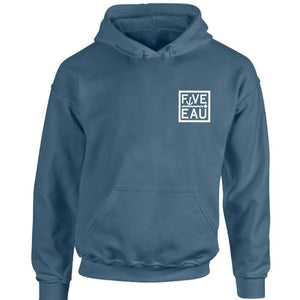 erie indigo small block logo hoodie sweatshirt.  Lifestyle apparel brand for water lovers, wake surf, water ski, fishing and boating enthusiasts based out of Erieau on Lake Erie Ontario.
